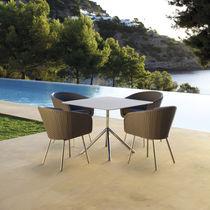Mesa de comedor moderna / de vidrio / de acero inoxidable / rectangular
