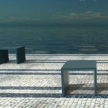 Banco público / de diseño minimalista / de hormigón de alto rendimiento / alto