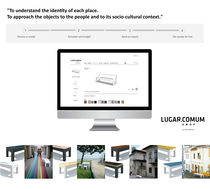 Taburete moderno / de acero / para espacio público / de exterior