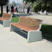 Banco público / moderno / de madera / de acero galvanizado