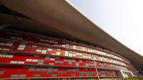 Revestimiento de fachada de aluminio / de colores / de gran formato / con junta alzada doble