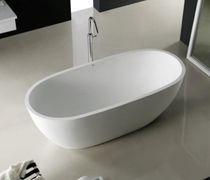 Bañera independiente / ovalada / de mineral compuesto