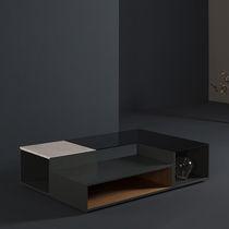 Mesa de centro moderna / de MDF lacado / de vidrio ahumado / de mármol