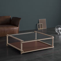 Mesa de centro moderna / de madera maciza / de MDF lacado / de cristal