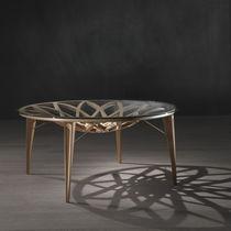Mesa moderna / de madera / de vidrio / redonda