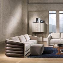 Sofá moderno / de tejido / de cuero / 3 plazas