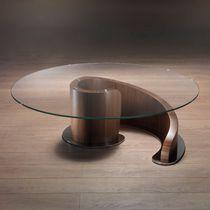 Mesa de centro moderna / de vidrio / de metal / de nogal