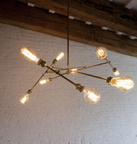 Lámpara araña de diseño original / de latón / de incandescencia / hecha a mano