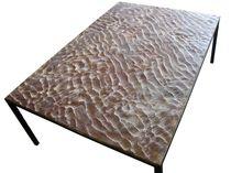 Mesa de centro / de diseño minimalista / de piedra reconstituida / de metal patinado