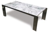 Mesa de centro / moderna / de madera pintada / de acero inoxidable