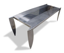 Mesa de diseño original / de acero inoxidable / rectangular / cuadrada