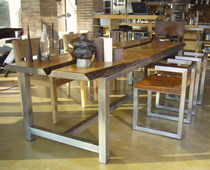 Mesa de diseño original / de madera maciza / de acero inoxidable cepillado / rectangular