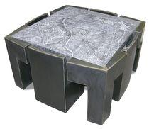 Conjunto de mesa y silla de diseño original / de metal / de piedra reconstituida / de interior