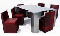 Conjunto de mesa y silla de diseño original / de acero / acero inoxidable / para interior