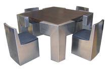 Conjunto de mesa y silla de diseño original / de madera / acero inoxidable / para interior