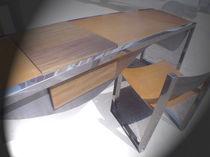 Escritorio de madera / de acero inoxidable / de cuero / moderno