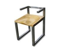 Silla de diseño / de madera maciza / de acero inoxidable / con reposabrazos