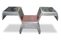Silla de diseño original / de cuero / de acero inoxidable / de hierro