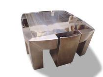 Conjunto de mesa y silla de diseño original / acero inoxidable / de interior / para uso doméstico