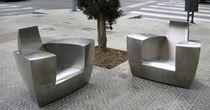 Sillón club / de diseño original / de acero inoxidable / para jardín