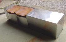 Banco para jardín / de diseño original / de acero inoxidable / de madera