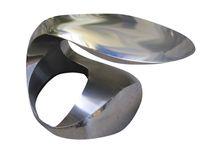 Mesa de centro / de diseño original / de acero inoxidable / redonda