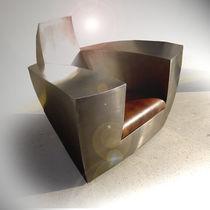 Sillón de diseño original / de cuero / de acero inoxidable / con ruedas camufladas