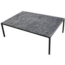 Mesa de centro / de diseño minimalista / de metal / de piedra reconstituida