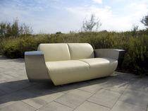 Sofá de diseño original / de cuero / de acero inoxidable / para hotel