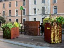 Jardinera de metal / cuadrada / moderna / para lugar público