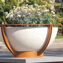 Jardinera de acero / de mármol / de piedra natural / redonda