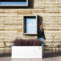 Jardinera de mármol / de piedra natural / rectangular / moderna
