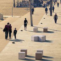 Taburete moderno / de piedra reconstituida / de mármol / para lugar público