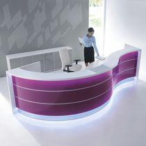 Mostrador de recepción de esquina / en arco de círculo / de vidrio / de aluminio