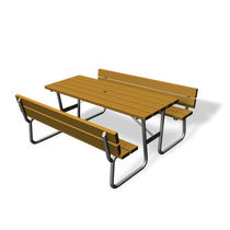 Mesa de pícnic clásica / de madera / rectangular / para espacio público
