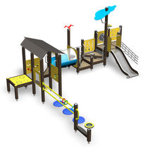 Estación de juego de madera / de HPL / para parque infantil / para personas con movilidad reducida