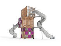 Estación de juego de madera / para parque infantil / para edificio público / modulable