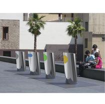 Cubo de basura público / para suelo / de acero inoxidable / moderno