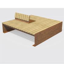 Banco público / moderno / de madera / de acero Corten