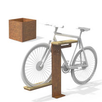 Jardinera de acero Corten / de madera / cuadrada / moderna