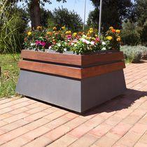Jardinera de acero / de madera / rectangular / moderna