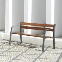 Banco público / clásico / de madera / de hierro fundido