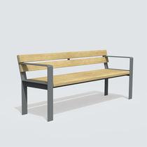 Banco público / moderno / de madera / de hierro fundido