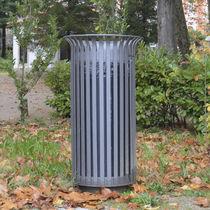 Cubo de basura público / de acero / con cenicero integrado / clásico
