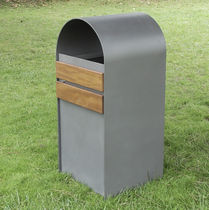 Cubo de basura público / de acero / de madera / con cenicero integrado