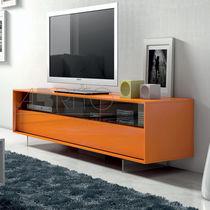 Mueble de televisión moderno / de madera lacada / de vidrio