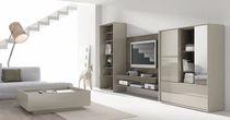 Mueble multimedia moderno / de madera lacada / de vidrio