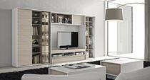 Mueble multimedia moderno / de madera lacada
