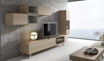 Mueble de televisión de estilo moderno / modulable / con altavoces de alta fidelidad / de madera
