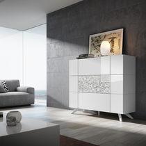 Aparador alto / moderno / de madera lacada / blanco